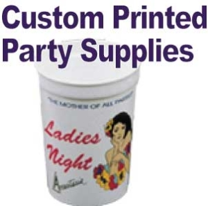 Custom Printed Party Items, champagne glasses and more!