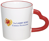 Larry King's Foundation using a heart shaped handle mug