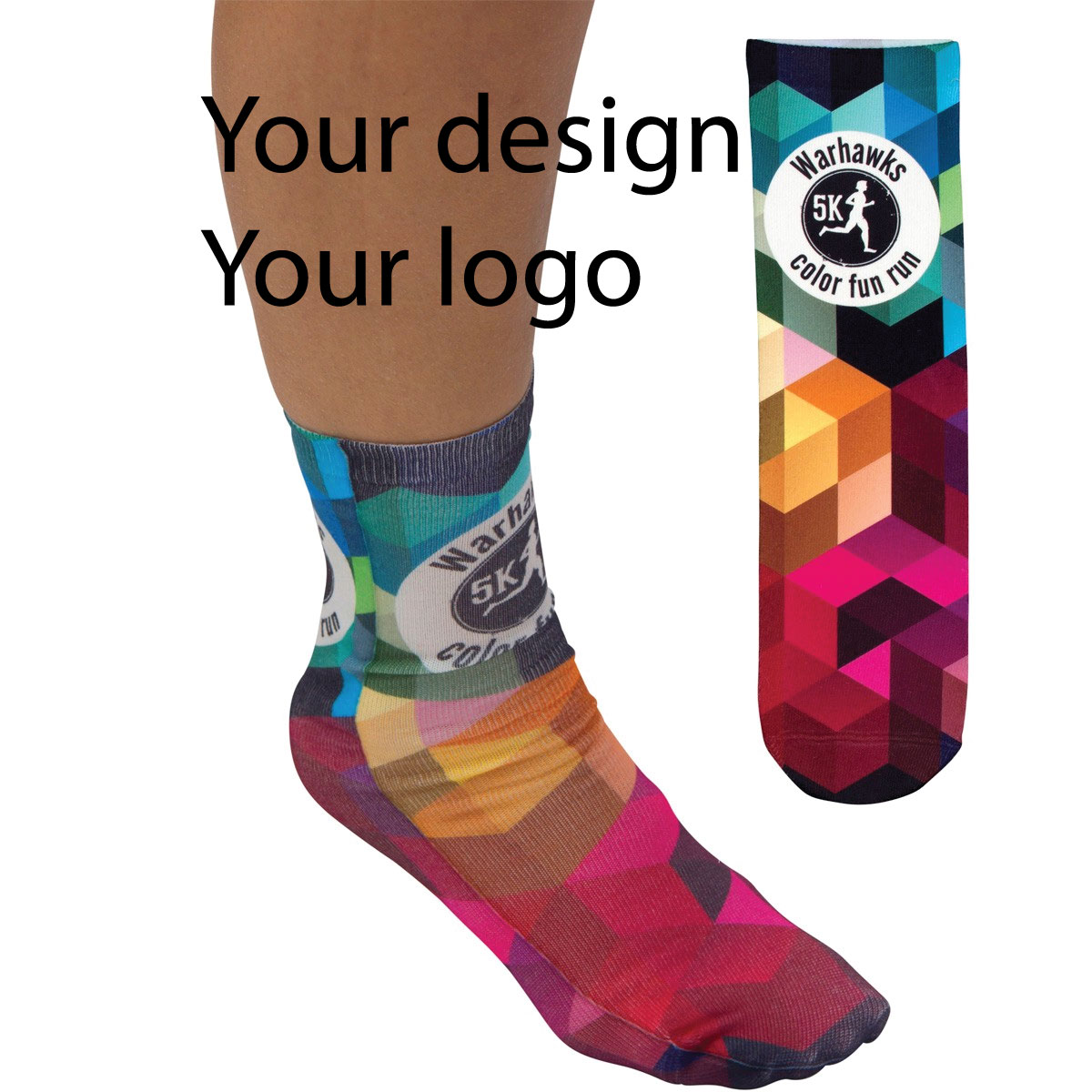 Fun and fashion statement, company logo socks.